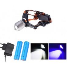 Налобный фонарь с ультрафиолетом 4 режима HL-033-3