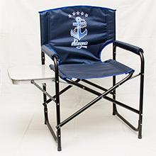Кресло складное Адмирал , сталь со столиком и подстаканником