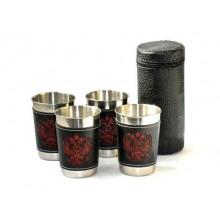 Набор из 4 стаканов с кожанными вставками 150мл в кожанном чехле