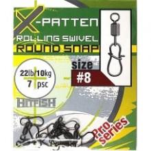 Вертлюги c застеж HITFISH X-Patten Rolling Swivel With Round Snap №14